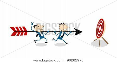 Business Teamwork With Arrow Aiming At Target
