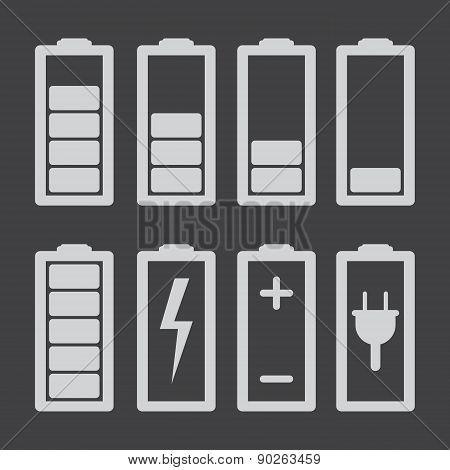 Set Of Battery Charge Level Indicators Isolated On Grey