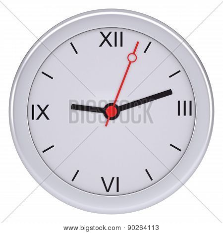 White clock on isolated background