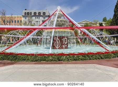 Fountain Decorated With Flowers And Ribbons On The Flower Festival In Baku