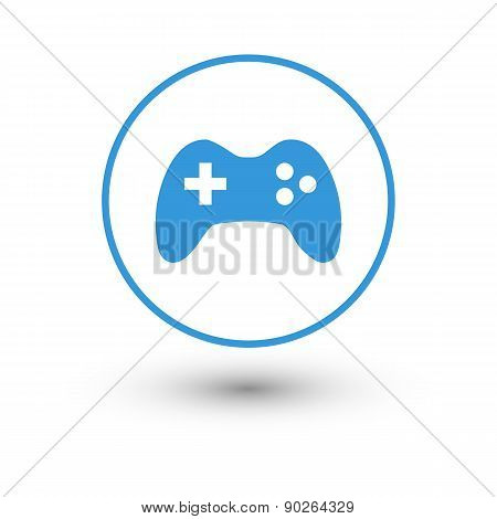 Blue joystick icon with shadow on a white background.