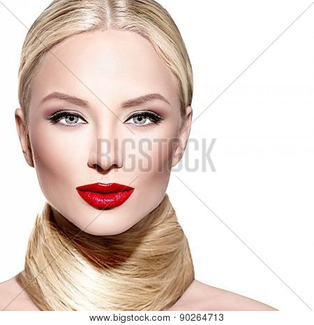 Beautiful woman with long blond straight hair. Portrait of sexy fashion model girl with bright makeup, red lipstick. Isolated on white background. Beauty female face close up perfect bright make up