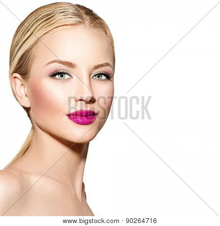 Beautiful woman with blond straight hair. Portrait of sexy fashion model with bright makeup. Isolated on white background. Beauty female face close up with perfect make up