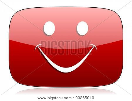 smile red glossy web icon