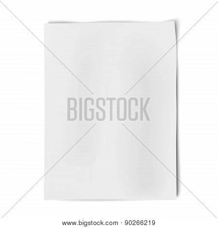Vector Sheet Of White Paper Isolated On White Background