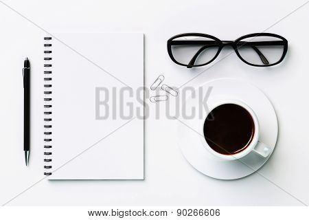 White Blank Diary And Coffee Cup, Mock Up