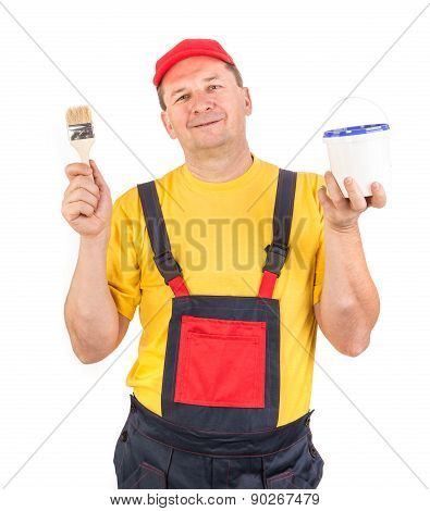 Worker with paint bucket and brush.