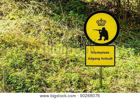 Shooting Range Sign In Denmark