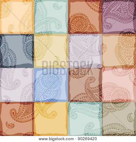 Paisley on patchwork background.