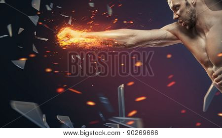 Powerful muscular man