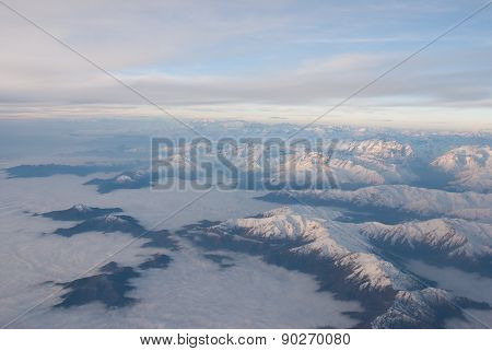 Andes region cloudy from the sky