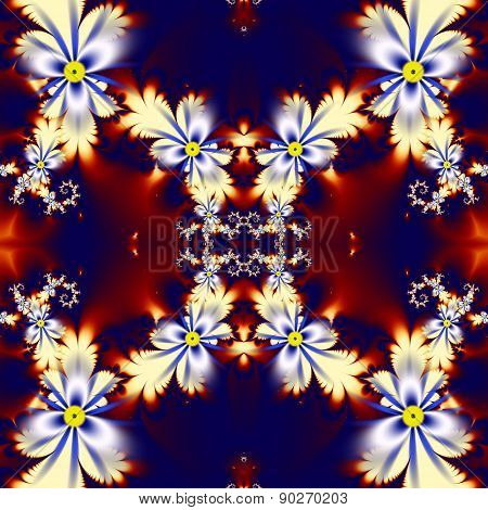 Flower Pattern In Fractal Design. Blue, Brown And White Palette. Computer Generated Graphics.
