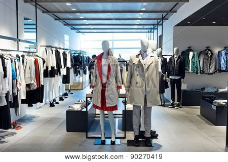 fashion store interior and mannequins