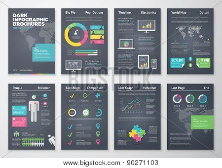 Colorful flat infographic brochures with dark background