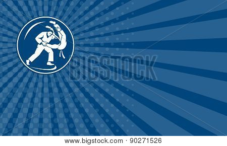Business Card Judo Combatants Throw Circle Icon