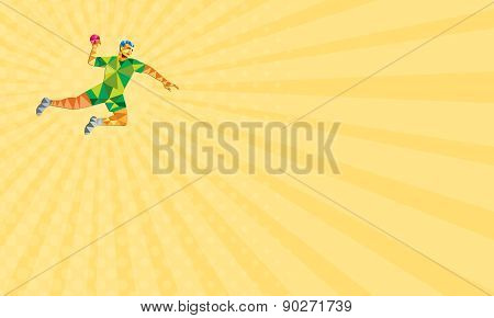 Business Card Handball Player Jumping Throwing Ball Low Polygon