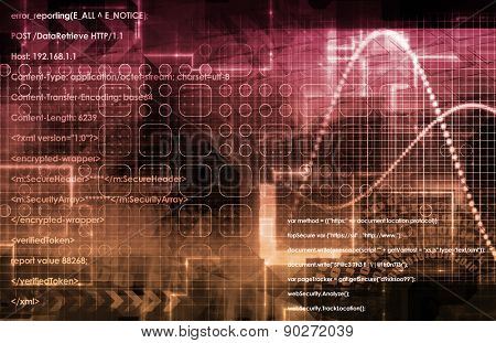 Technology Abstract with Binary Data Moving as Art