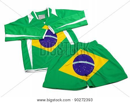Flag From Brazil On Nylon Soccer Sportswear Clothes