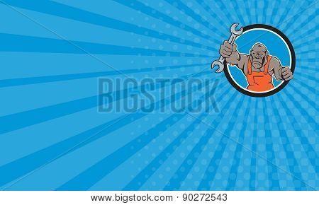 Business Card Angry Gorilla Mechanic Spanner Circle Cartoon