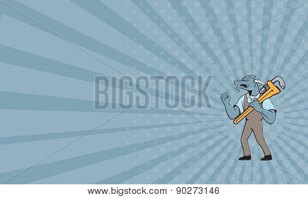 Business Card Dragon Plumber Monkey Wrench Fist Pump Isolated