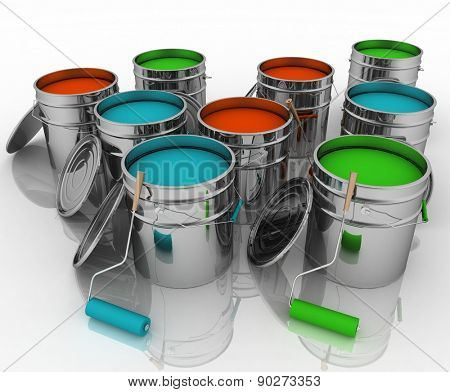 Open buckets with a paint and rollers. 3d illustration on white background