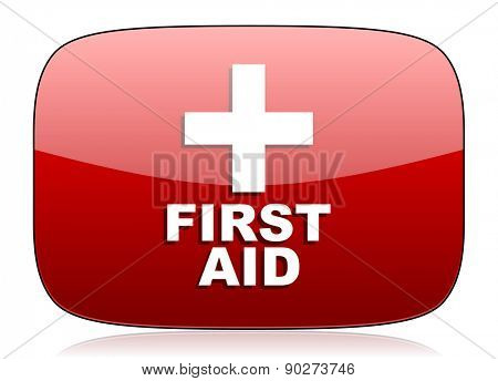 first aid red glossy web icon