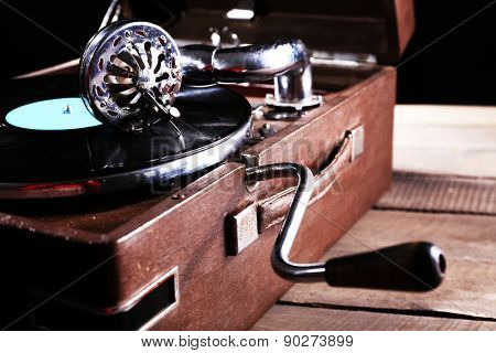 Gramophone with vinyl record, closeup