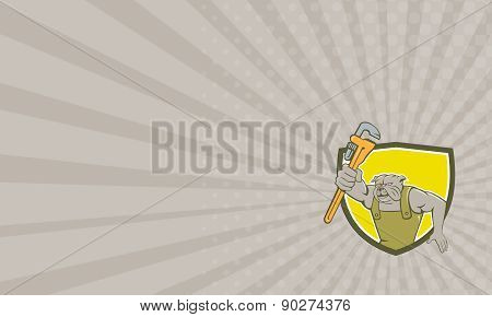 Business Card Bulldog Plumber Monkey Wrench Shield Cartoon