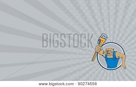 Business Card Bulldog Plumber Monkey Wrench Circle Cartoon