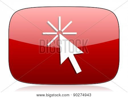 click here red glossy web icon