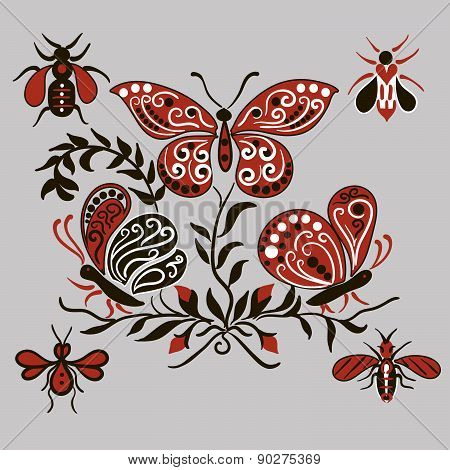 Pattern with black and red butterflies