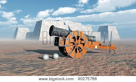 Medieval cannon and fortress