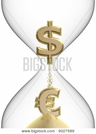 Dollar Euro Symbol In Hourglass