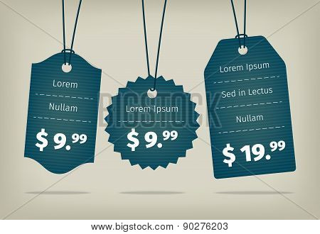 Vector blue cardboard textured pricing tags