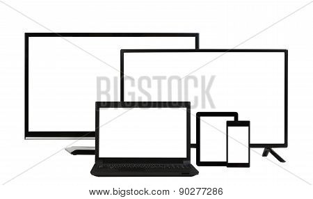 Computing Concept - Lots Of Different Monitors Isolated