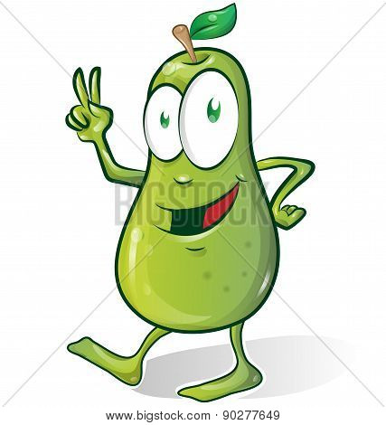 Pear Cartoon Isolated On White Background.