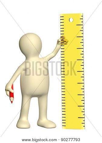 3d puppet with ruler and pencil. Isolated over white background