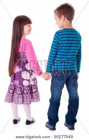 Little Girl And Boy Holding Hands