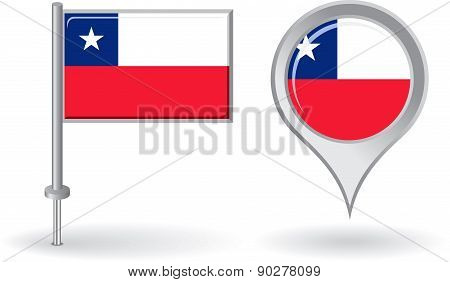 Chilean pin icon and map pointer flag. Vector