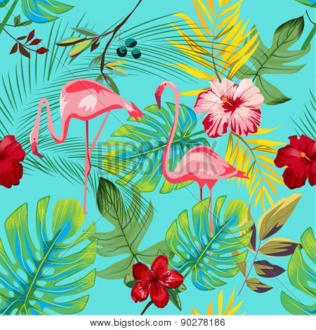 EXOTIC FLAMINGO PATTER / BACKGROUND DESIGN. Modern stylish texture. Repeating and editable vector illustration file. Can be used for prints, textiles, website blogs etc.