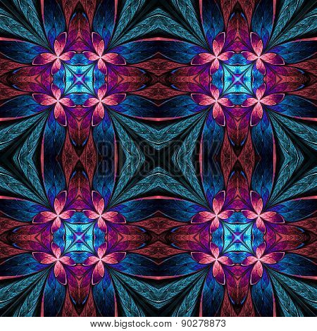 Symmetrical Flower Pattern In Stained-glass Window Style On Black. Blue, Pink And Purple Palette. Co