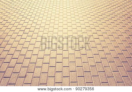 Abstract Background Made Of Brick Pavement.