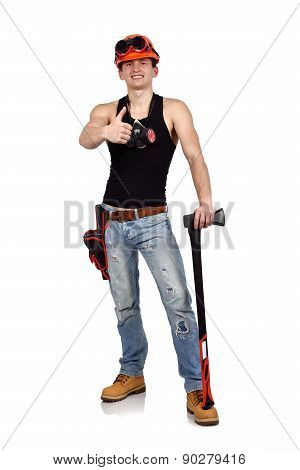 Handyman Showing Thumb Up