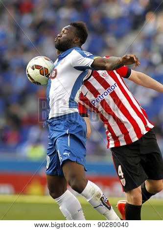 BARCELONA - APRIL, 12: Felipe Caicedo of RCD Espanyol during a Spanish League match against Athletic Club Bilbao at the Power8 Stadium on April 12 2015 in Barcelona Spain