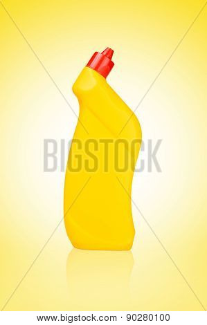 Yellow Bottle Of Cleaning Supply For Toilet