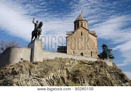 Metekhi Church And King Vakhtang Gorgasali On The Horse Monument In Tbilisi,famous Landmark, Georgia