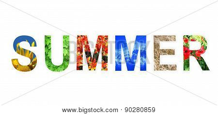 Word Summer By Different Letters Isolated On White