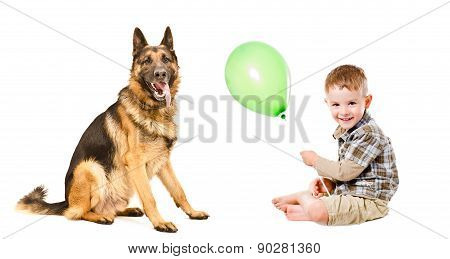 Happy boy and German Shepherd playing with a balloon