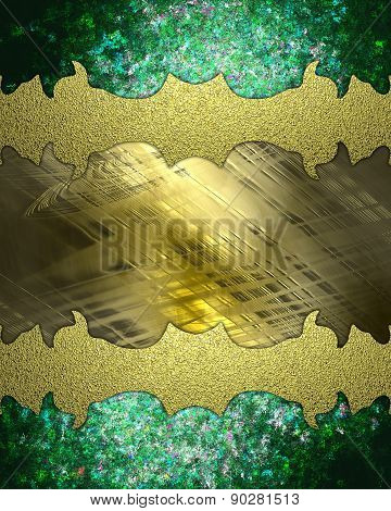 Green Edges And Gold Frame. Element For Design. Template For Design. Abstract Background