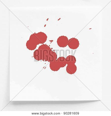 Red ink watercolor splahs, blots on white note paper